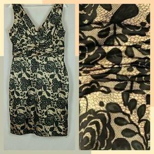 Rose Print Gold Dress